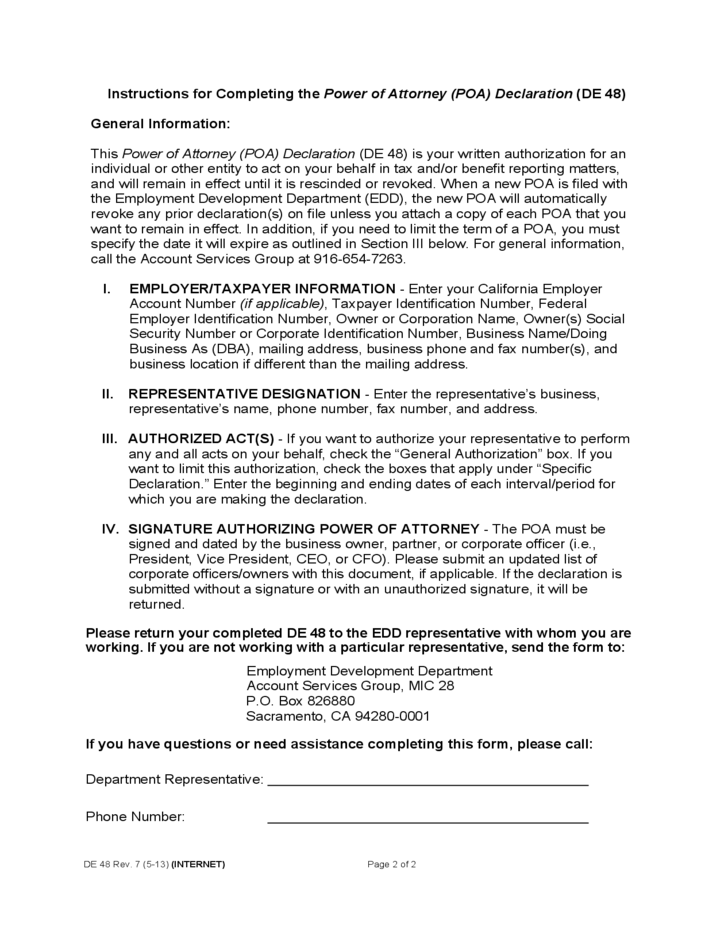 Power of Attorney Declaration - California EDD