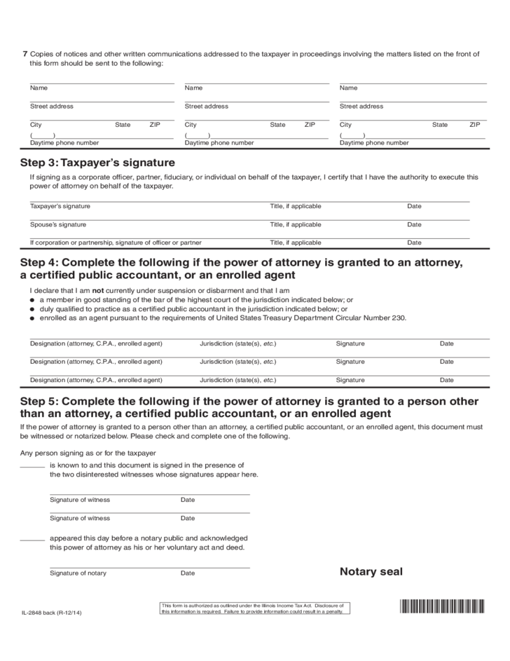 IL-2848 - Power of Attorney Form - Illinois Department of Revenue