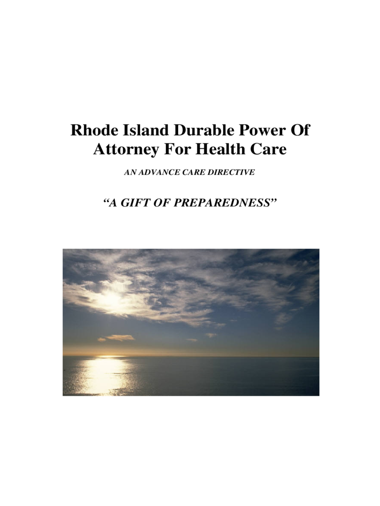 Durable Power of Attorney for Health Care - Rhode Island