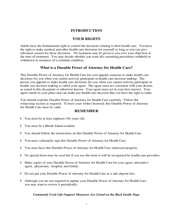 Durable Power Of Attorney For Health Care Rhode Island Free Download