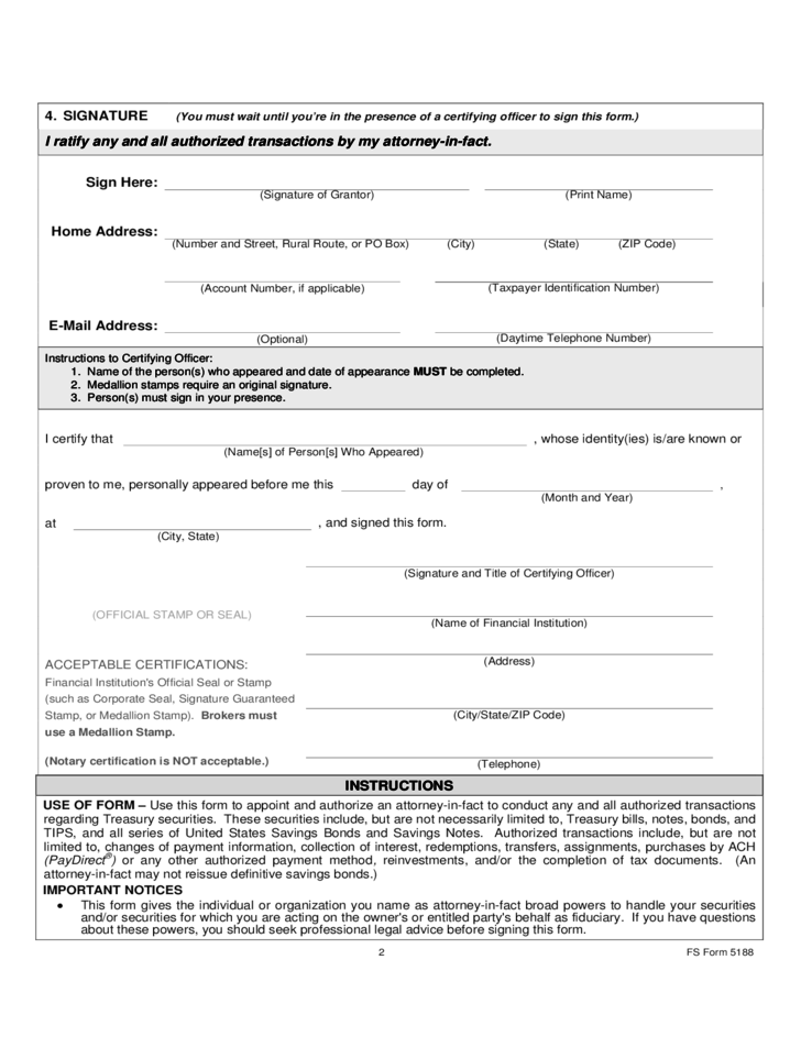 Form 5188 - Durable Power of Attorney for Securities and Savings Bonds Transactions
