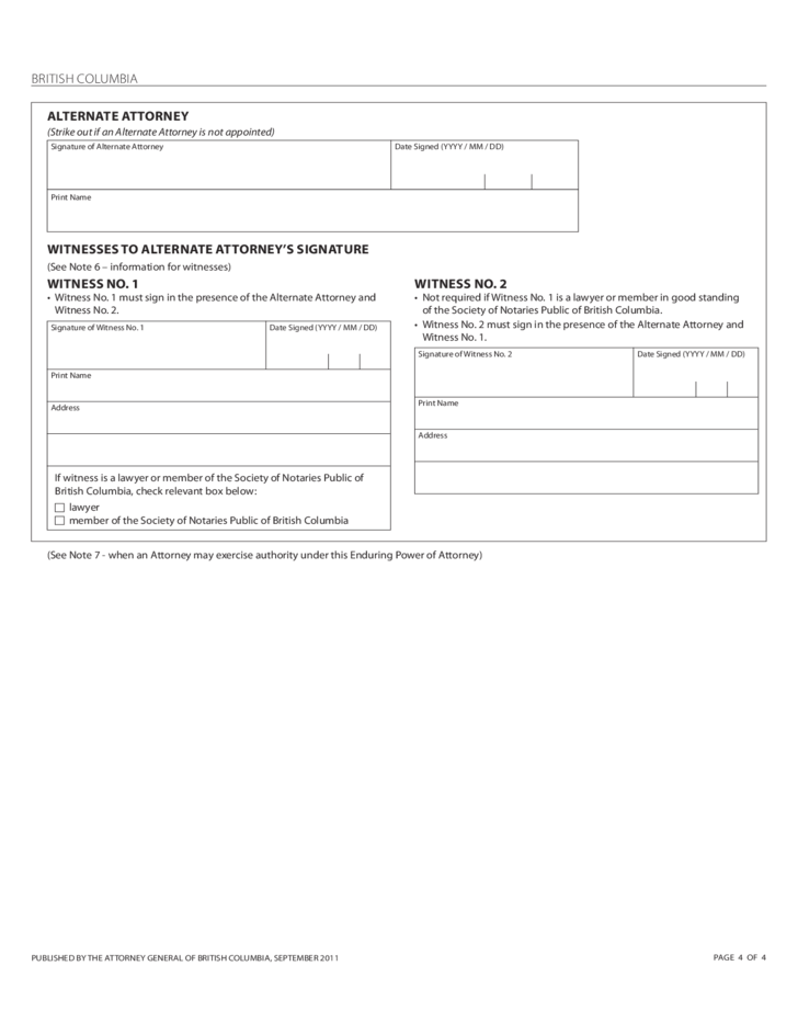 Enduring Power of Attorney Form - British Columbia