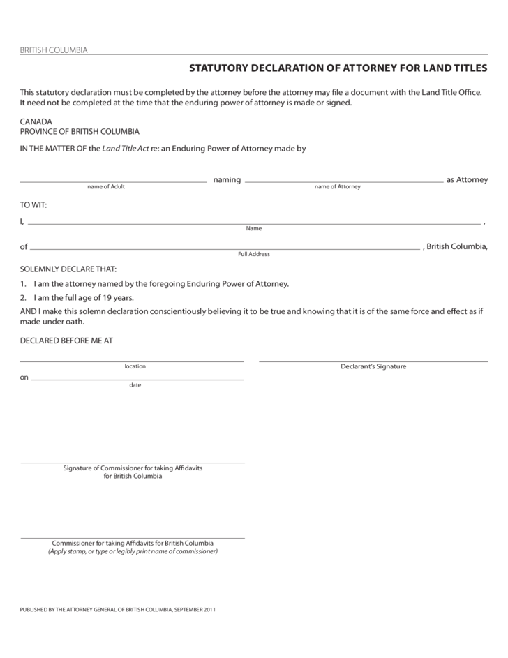 Enduring Power Of Attorney Form British Columbia Free Download