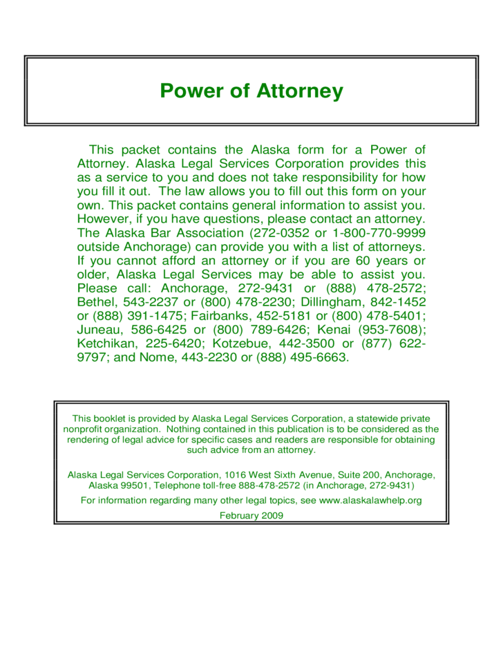 Durable Power of Attorney - Alaska