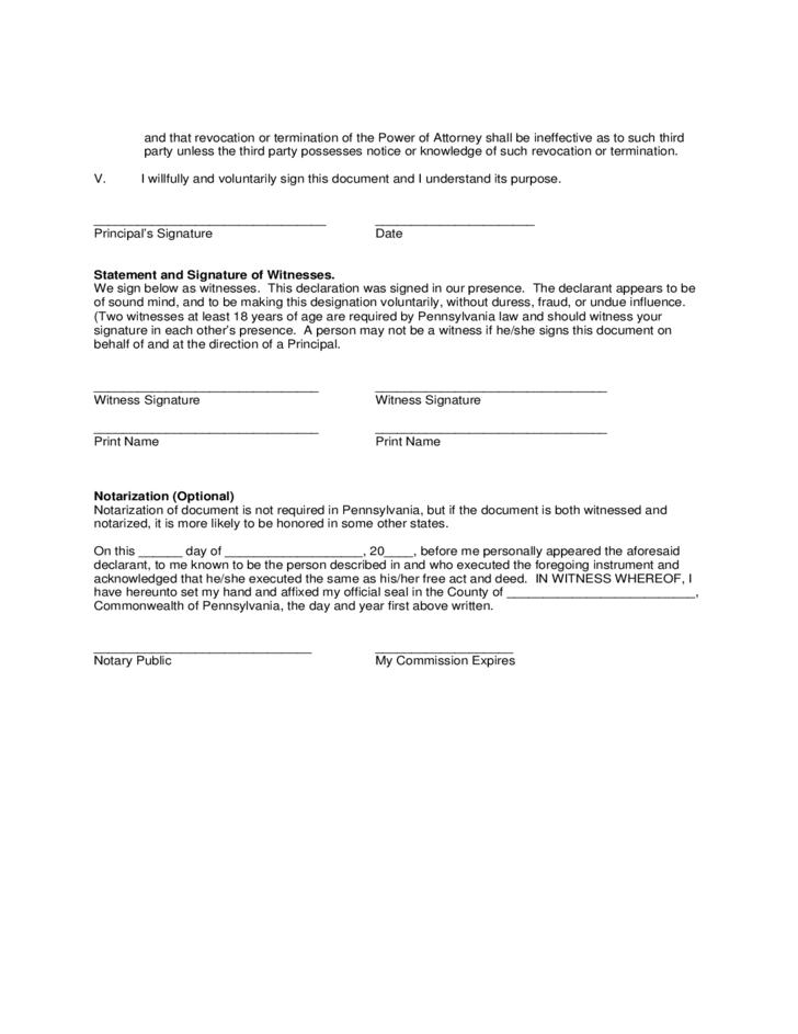 Standard Durable Power of Attorney Form