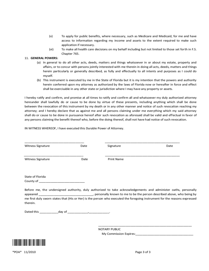 Free Florida Power Of Attorney Form Dolapgnetband
