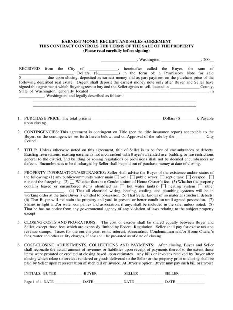 Earnest Money Contract Form - 3 Free Templates in PDF, Word, Excel ...