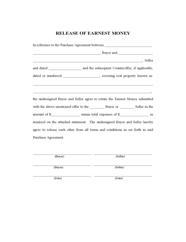 Release Of Earnest Money Free Download .  Money Contract Template