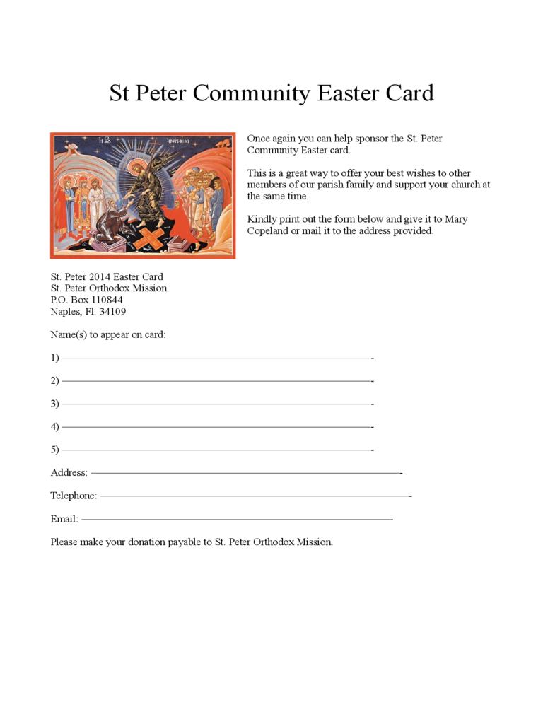Easter Card - St. Peter Community