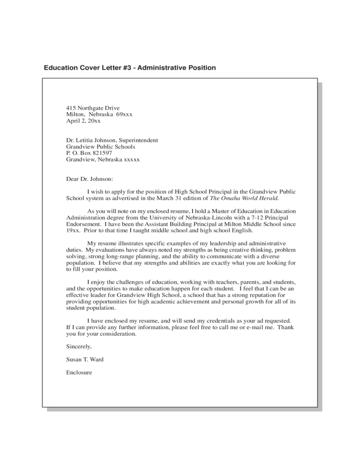 Education Cover Letter Free Download