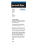 Sample Cover Letter - Education Free Download