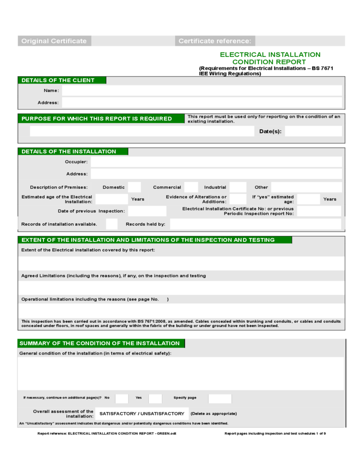 Report Form Of Electrical Installation Condition Free Download