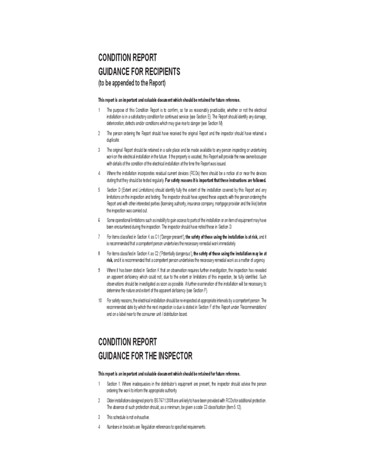 Sample Electrical Installation Condition Report Form Free