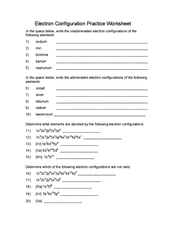 Worksheet Electron Configuration Worksheet electron configuration practice worksheet free download 1 worksheet