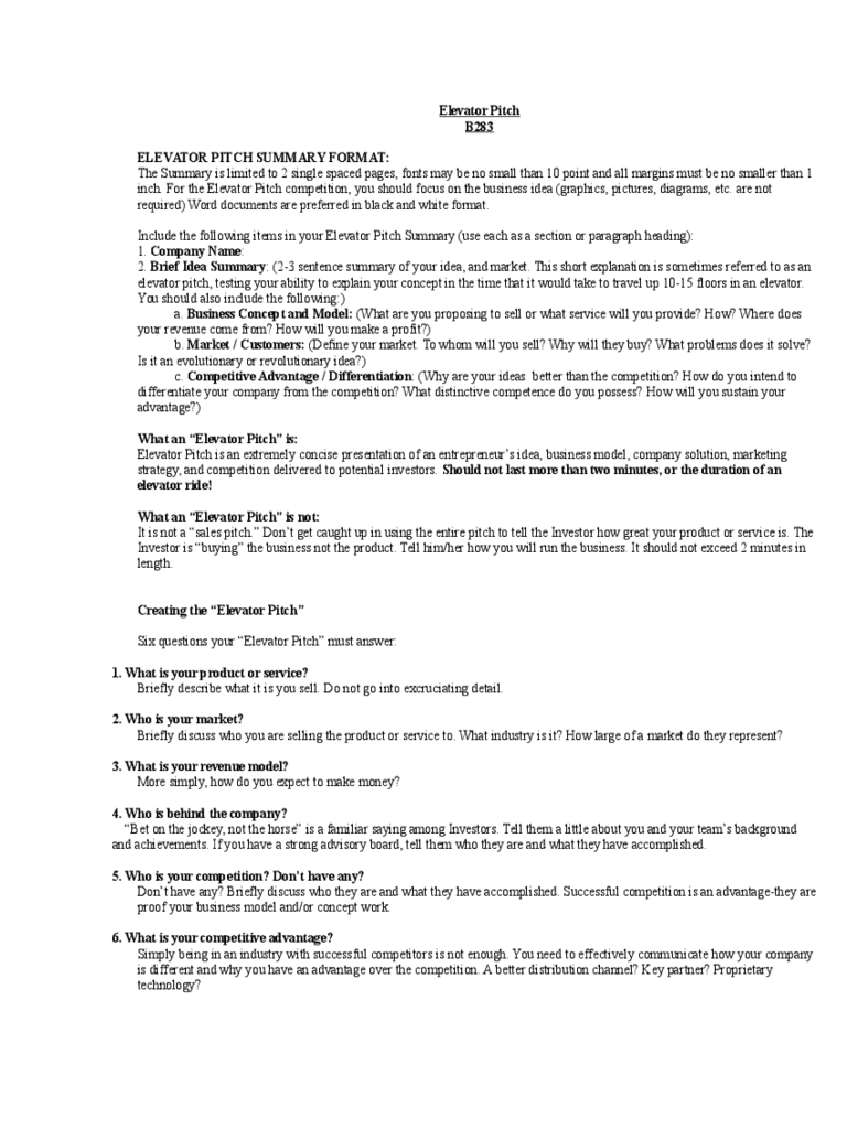 Elevator Pitch Examples 4 Free Templates in PDF Word Excel – Elevator Pitch Example