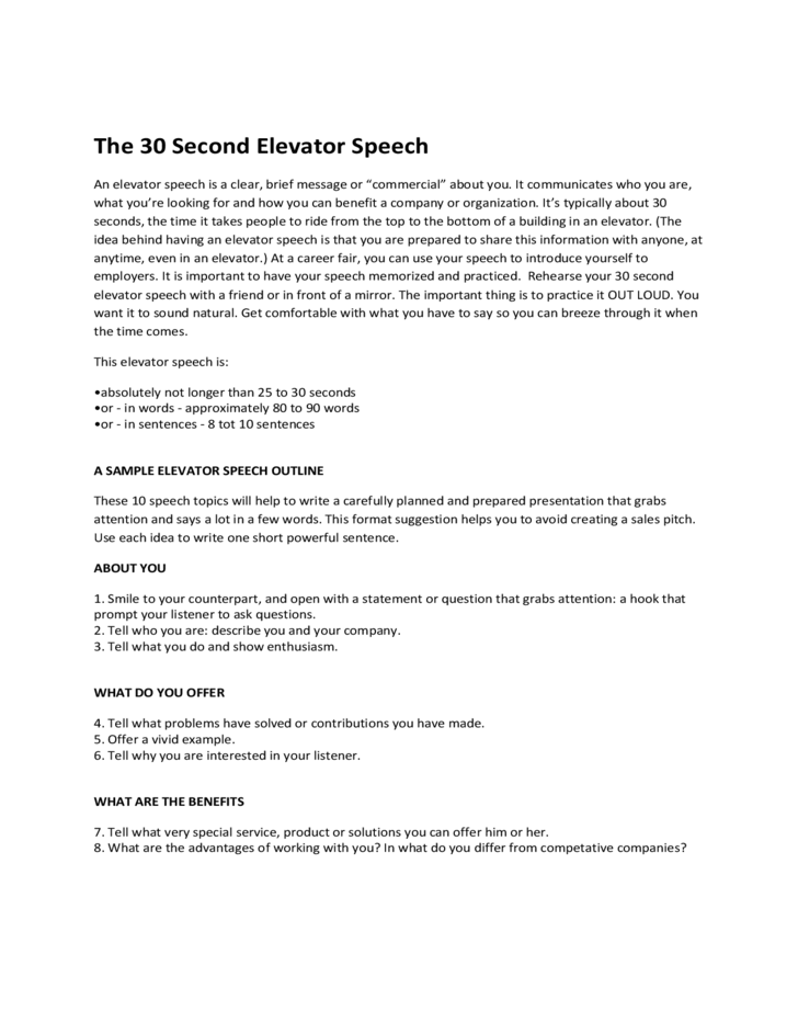 30 Seconds Elevator Speech Example Free Download