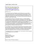Sample Email Cover Letter Free Download