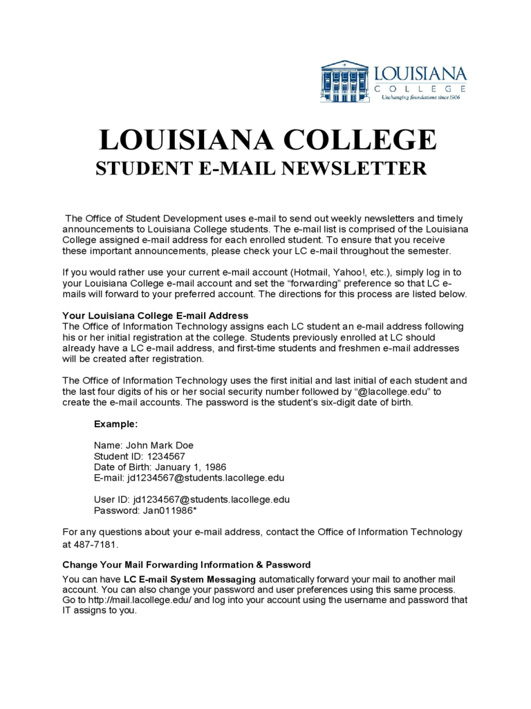 Student E-mail Newsletter - Louisiana College