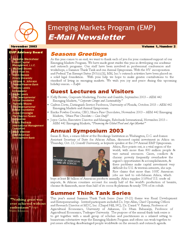 E-Mail Newsletter - Cornell University