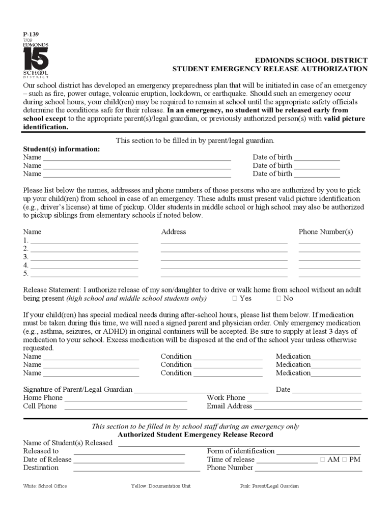 Student Emergency Release Authorization Form