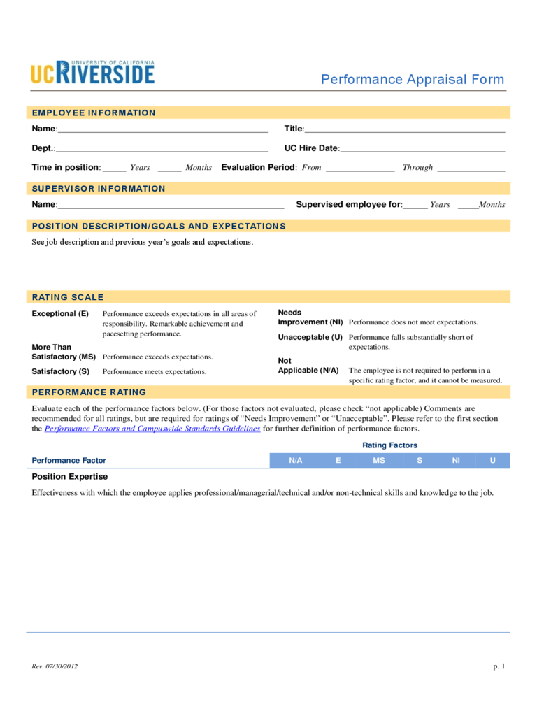 Employee Appraisal Form 2 Free Templates In Pdf Word Excel Download