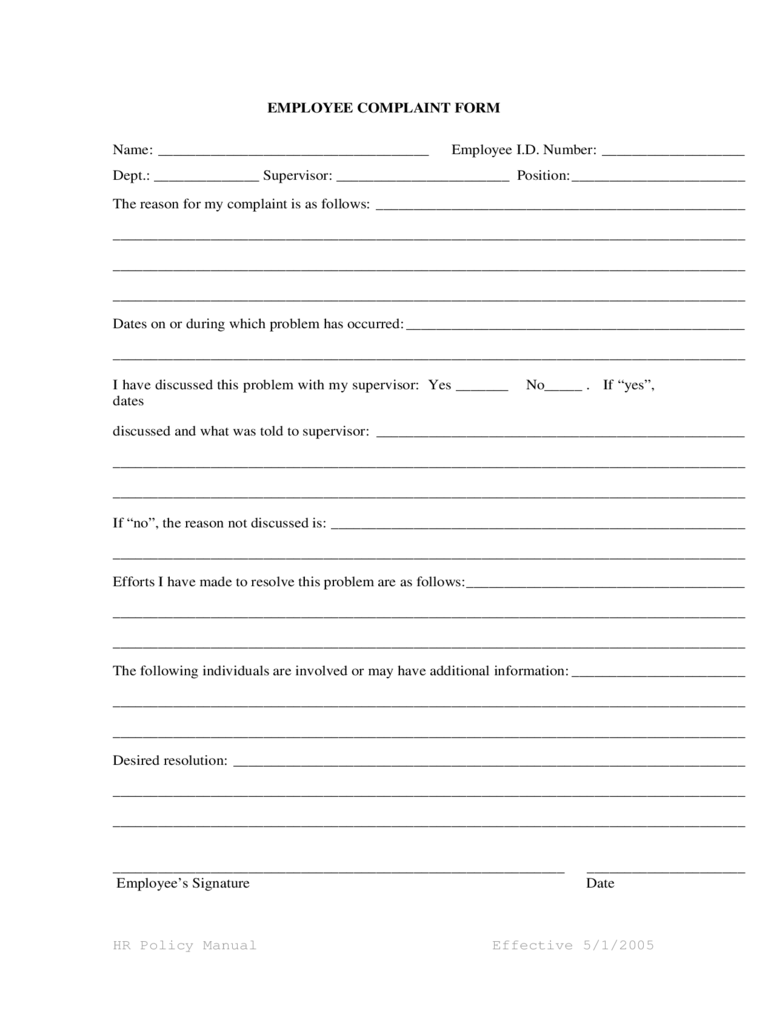 Generic Employee Complaint Form  Customer Complaints Form Template