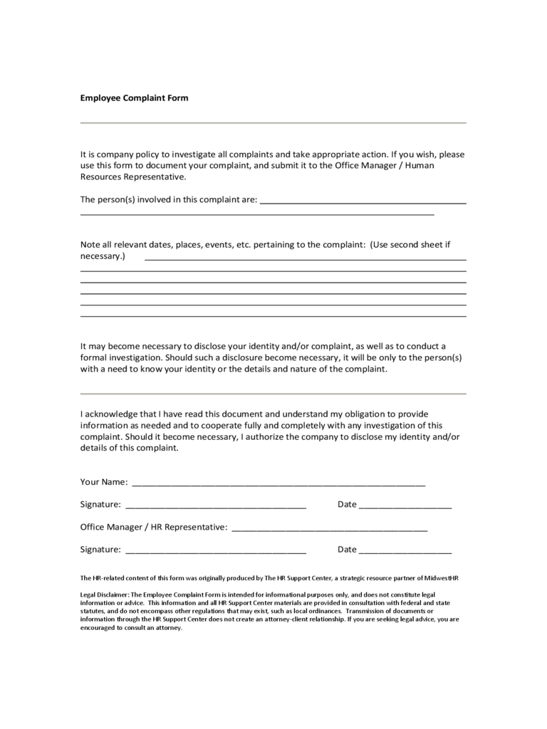 Employee Complaint Form - 4 Free Templates in PDF, Word, Excel ...