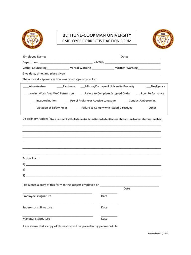 Employee Corrective Action Form 2 Free Templates In Pdf