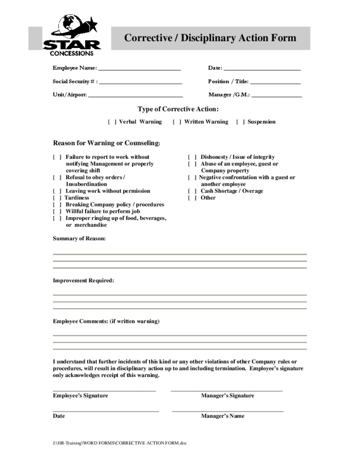 Corrective Disciplinary Action Form Free Download – Disciplinary Action Form