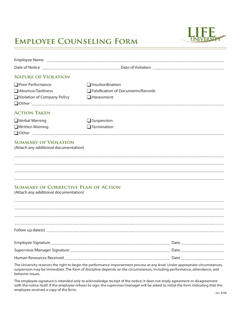 Employee Counseling Form - 2 Free Templates in PDF, Word, Excel ...