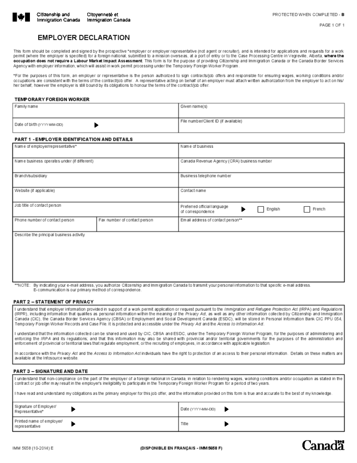 Employee Declaration Form Canada Free Download