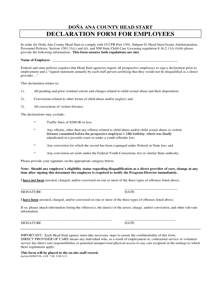 Employee Declaration Form - New Mexico Free Download