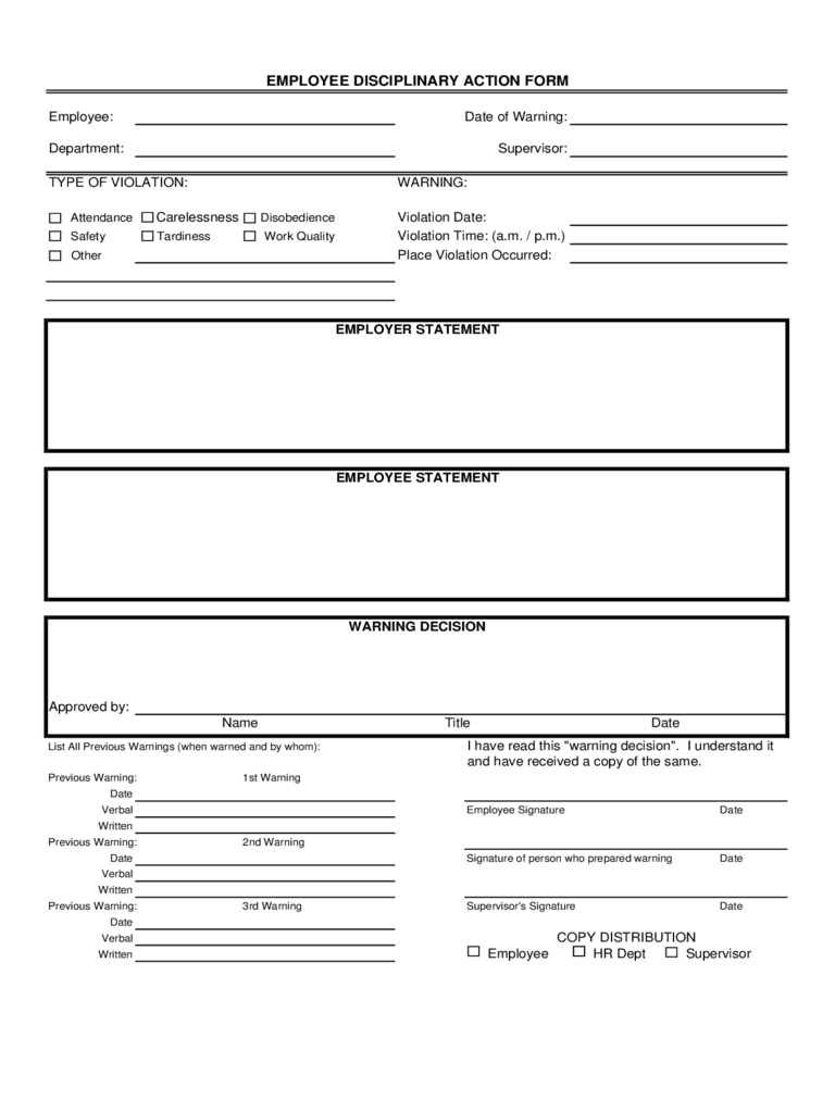 Blank Employee Disciplinary Action Form