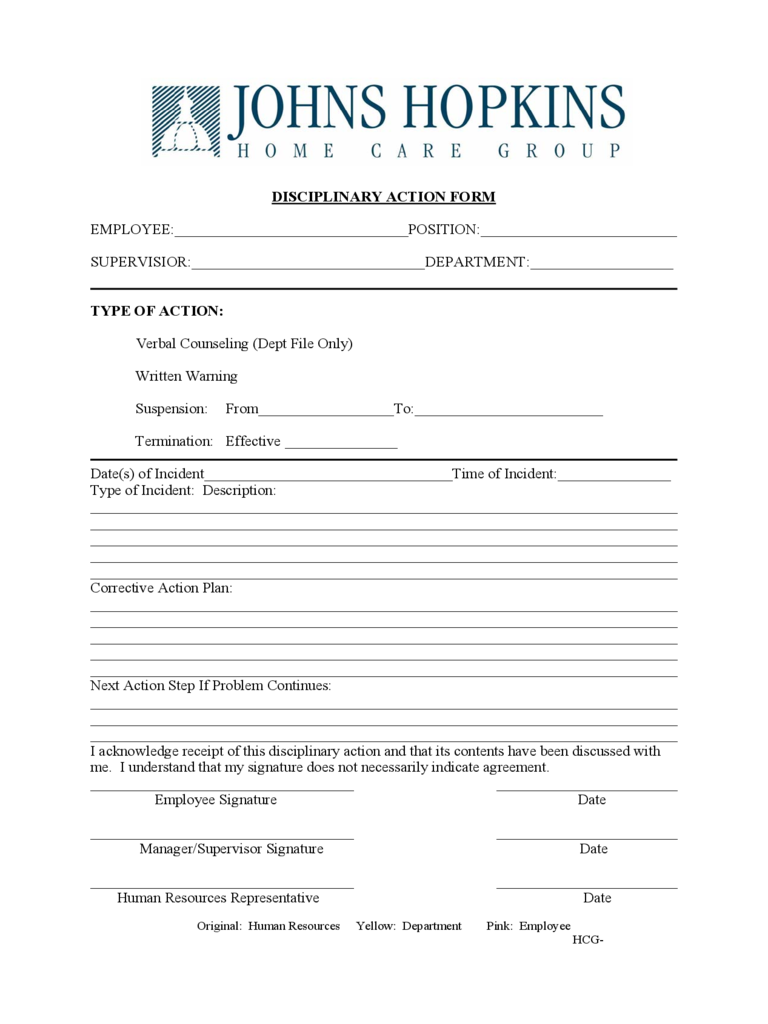 employee disciplinary action form 2 free templates in pdf word