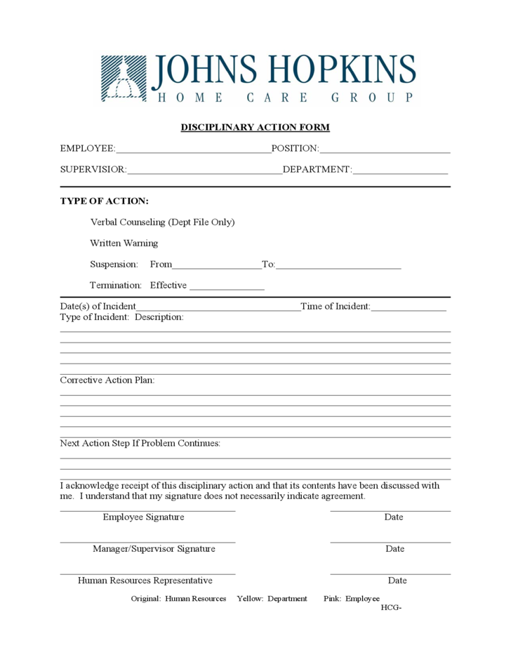 Disciplinary Action Form Free Download – Disciplinary Action Form