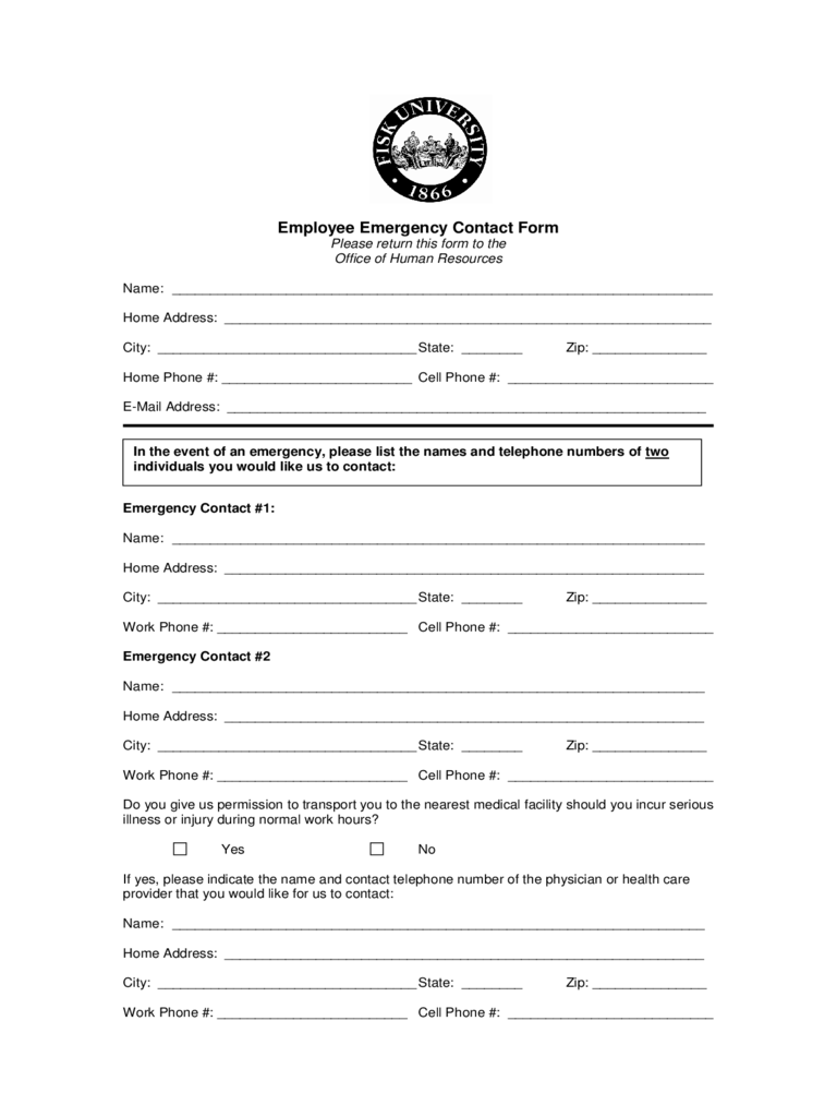 Employee Emergency Contact Form - Tennessee