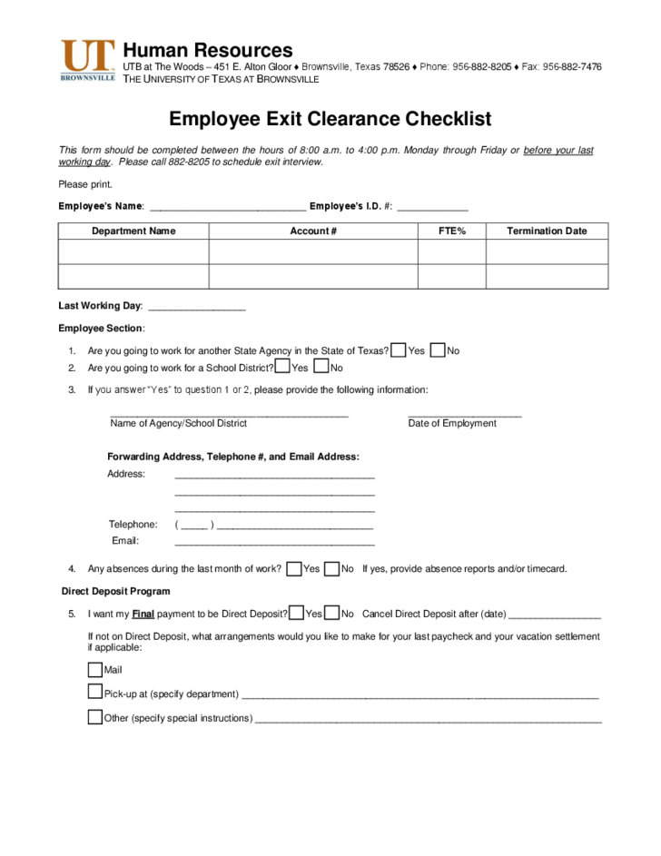 employee exit clearance checklist form