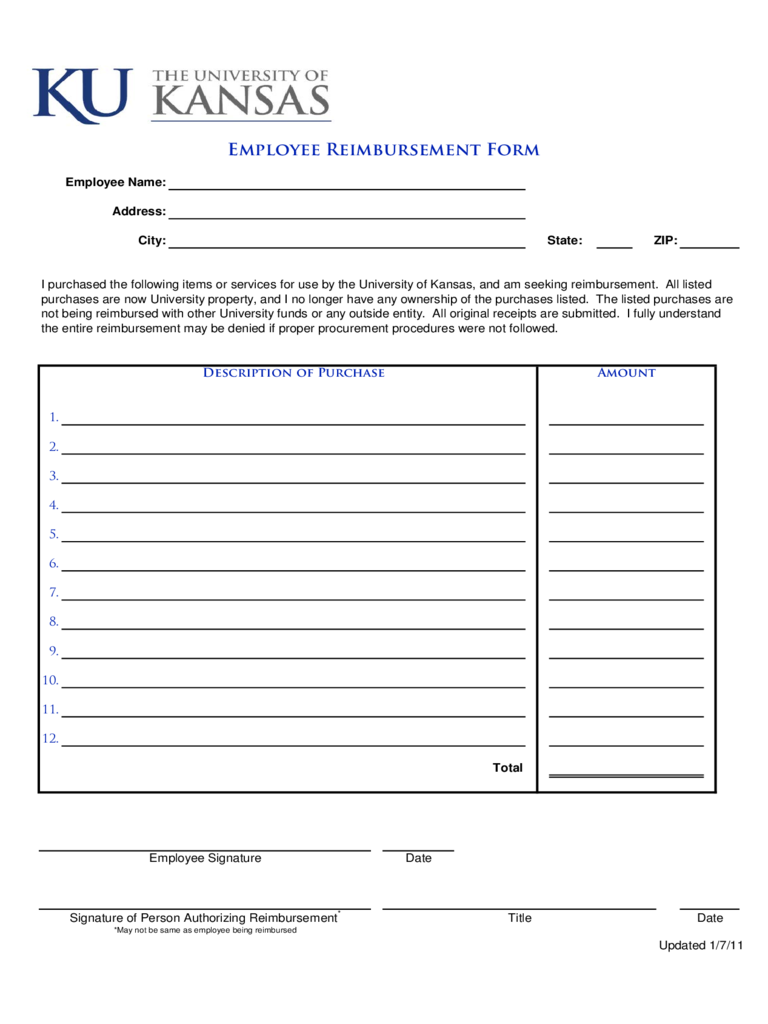 Attractive Employee Reimbursement Form   Kansas