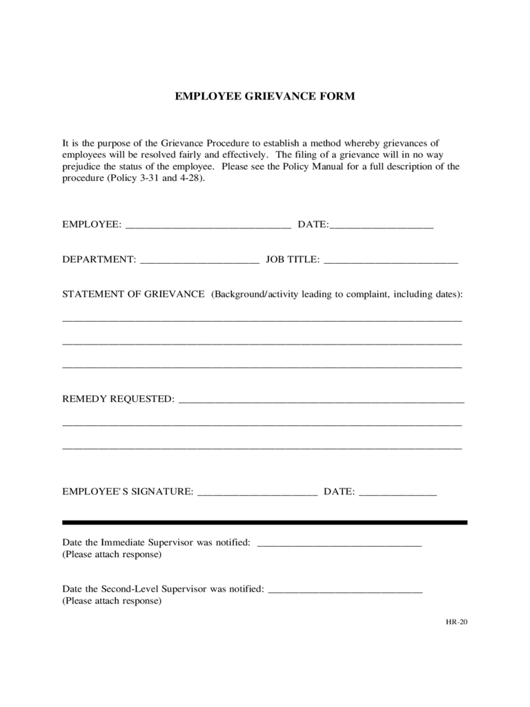 grievance template form - 28 images - doc 460595 employee ...