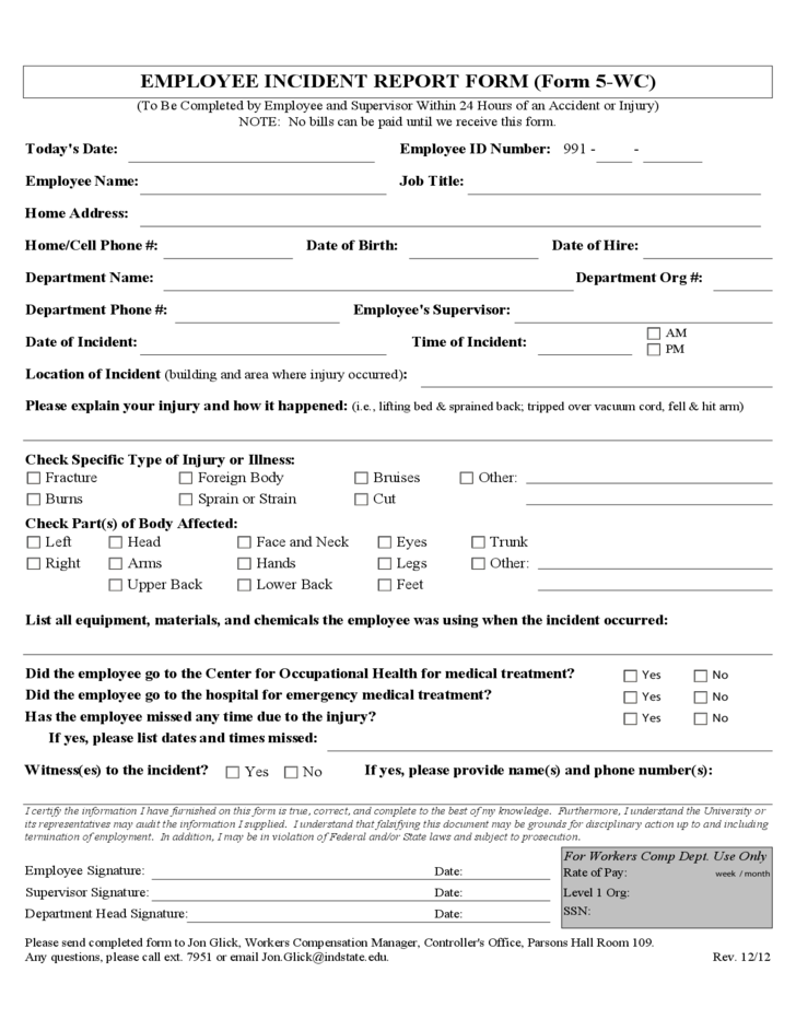 Blank Employee Incident Report Form Free Download