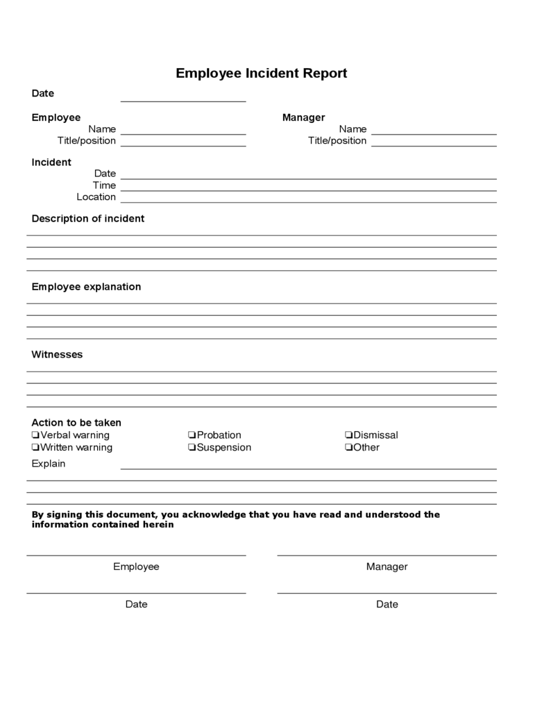Employee Incident Report Form Template  Incident Form Template