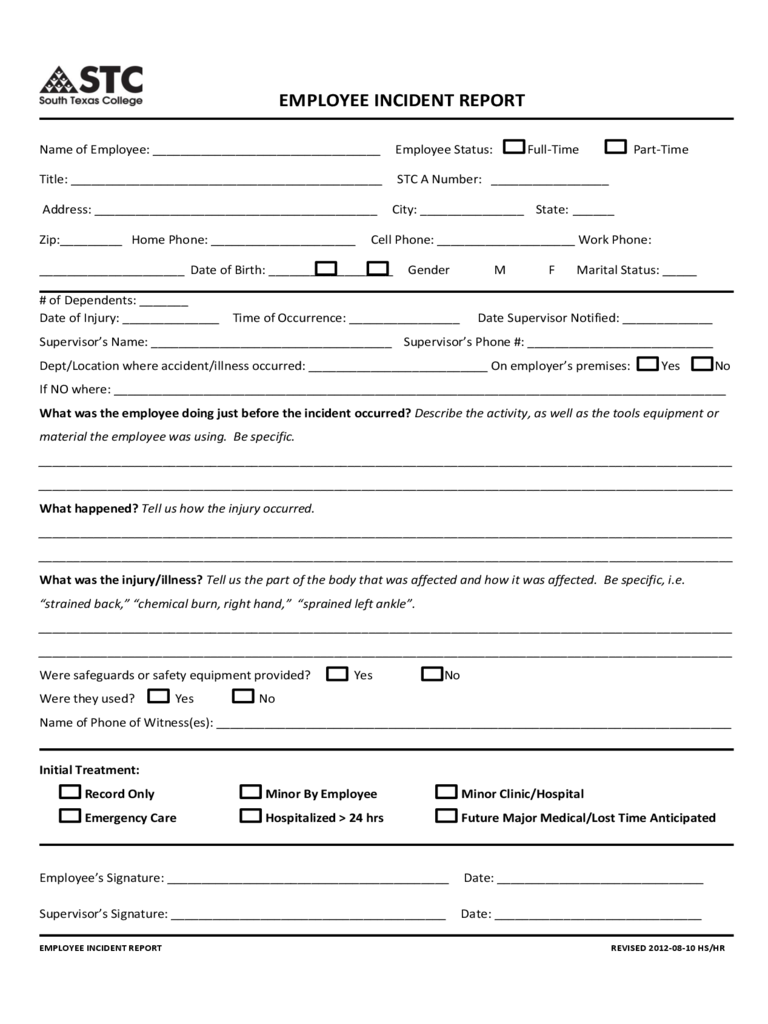 Employee Incident Report Form - Texas