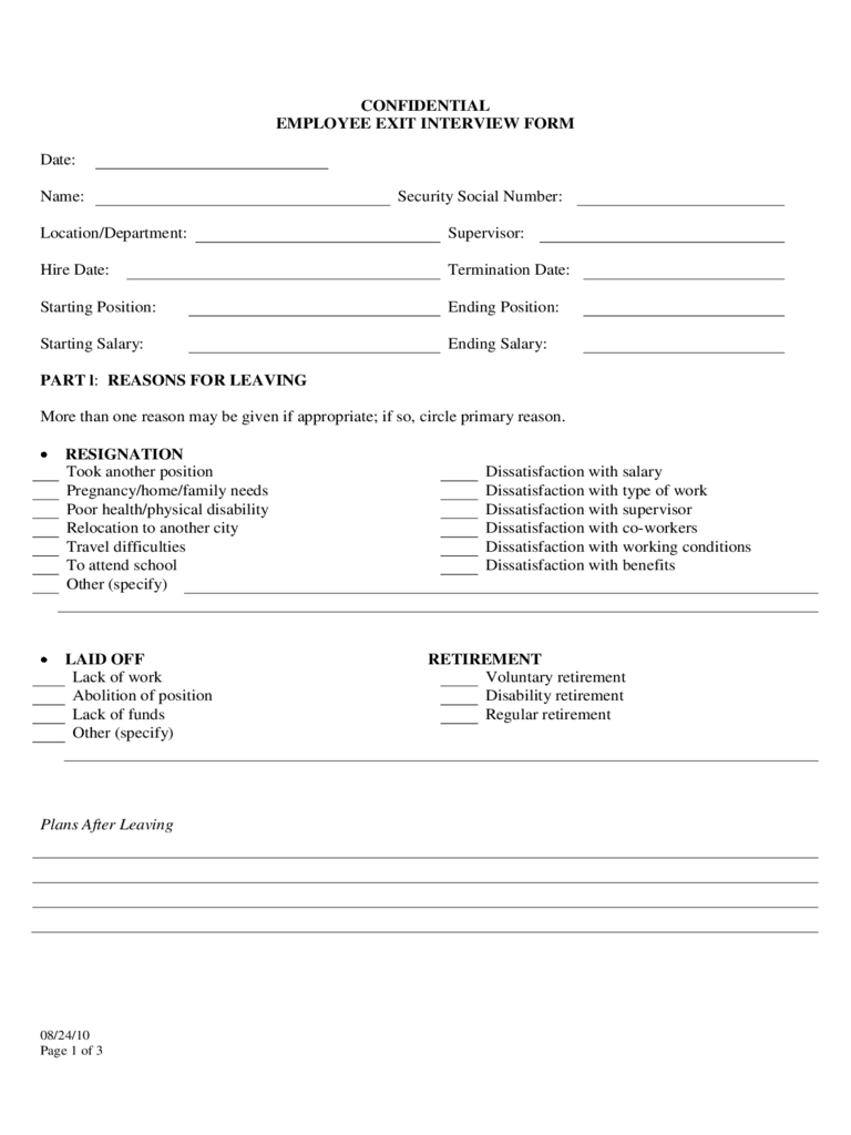Confidential Employee Exit Interview Form