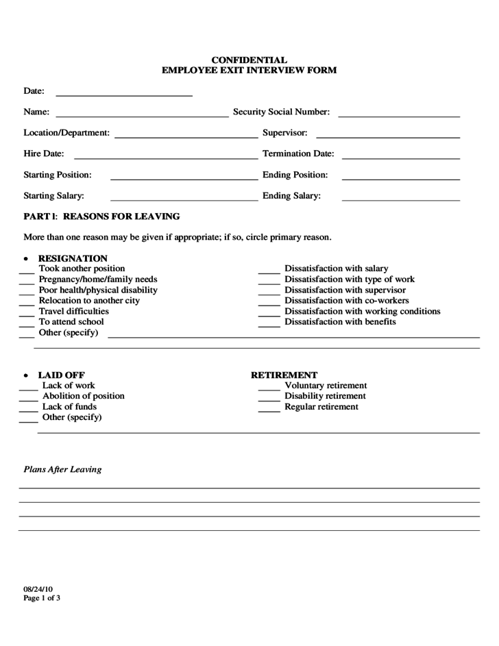 confidential employee exit interview form free download. Black Bedroom Furniture Sets. Home Design Ideas