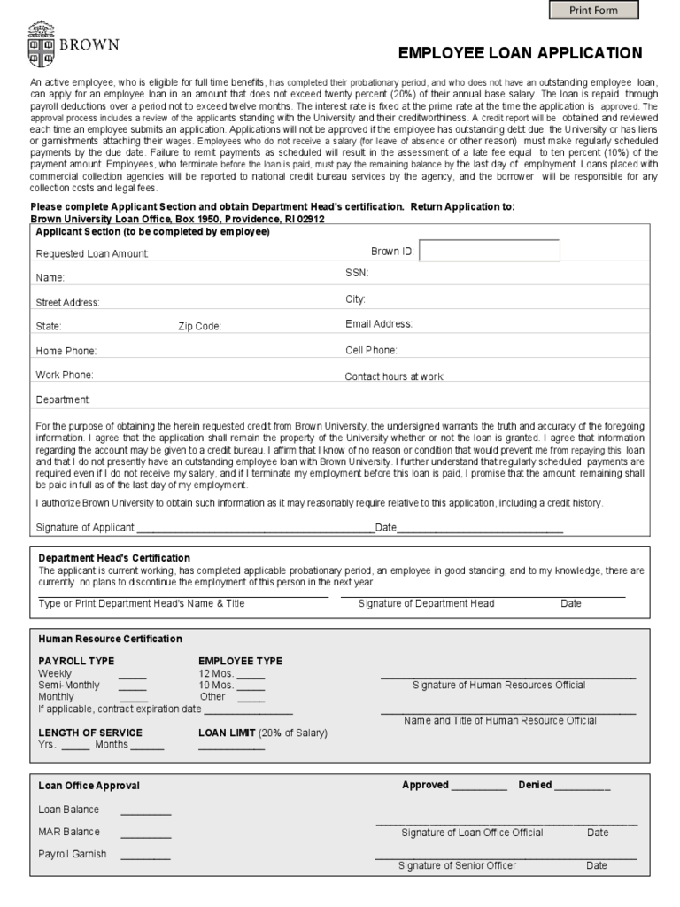 employee loan application form
