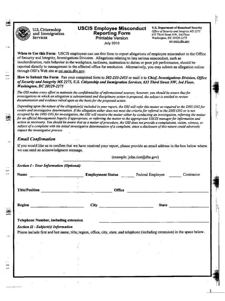 Employee Misconduct Form Format