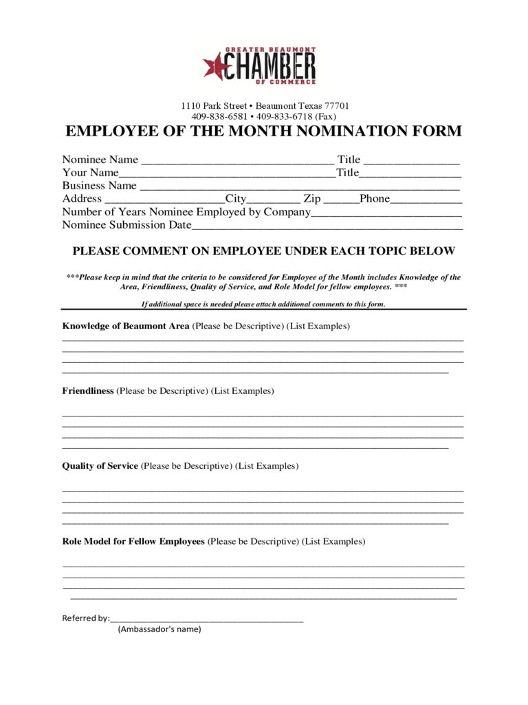 Employee Of The Month Nomination Form - Texas