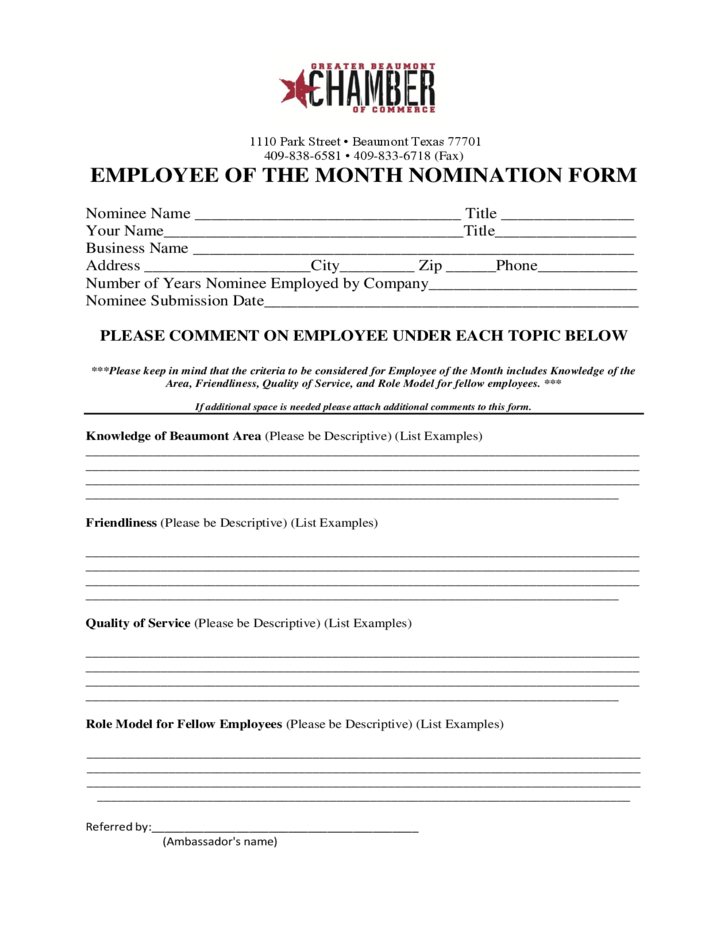 Employee Of The Month Nomination Form Texas Free Download