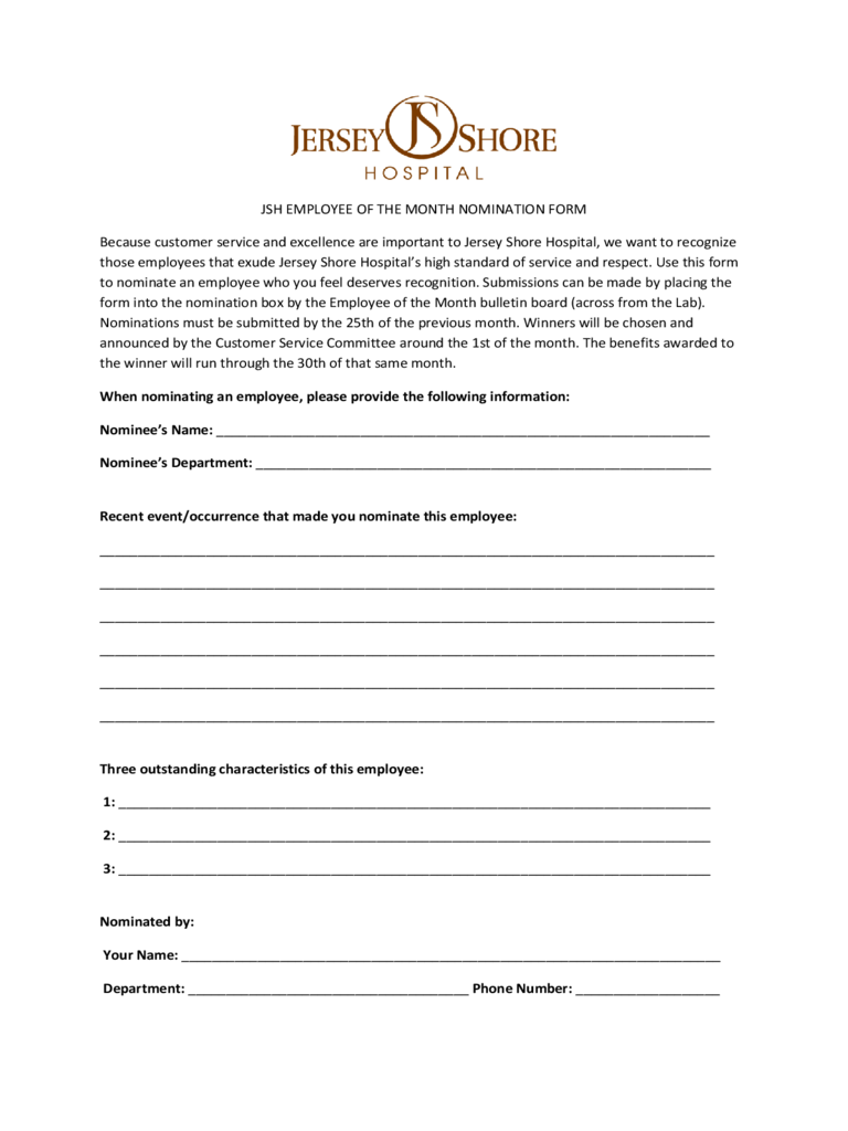 Employee Of The Month Nomination Form - New Jersey