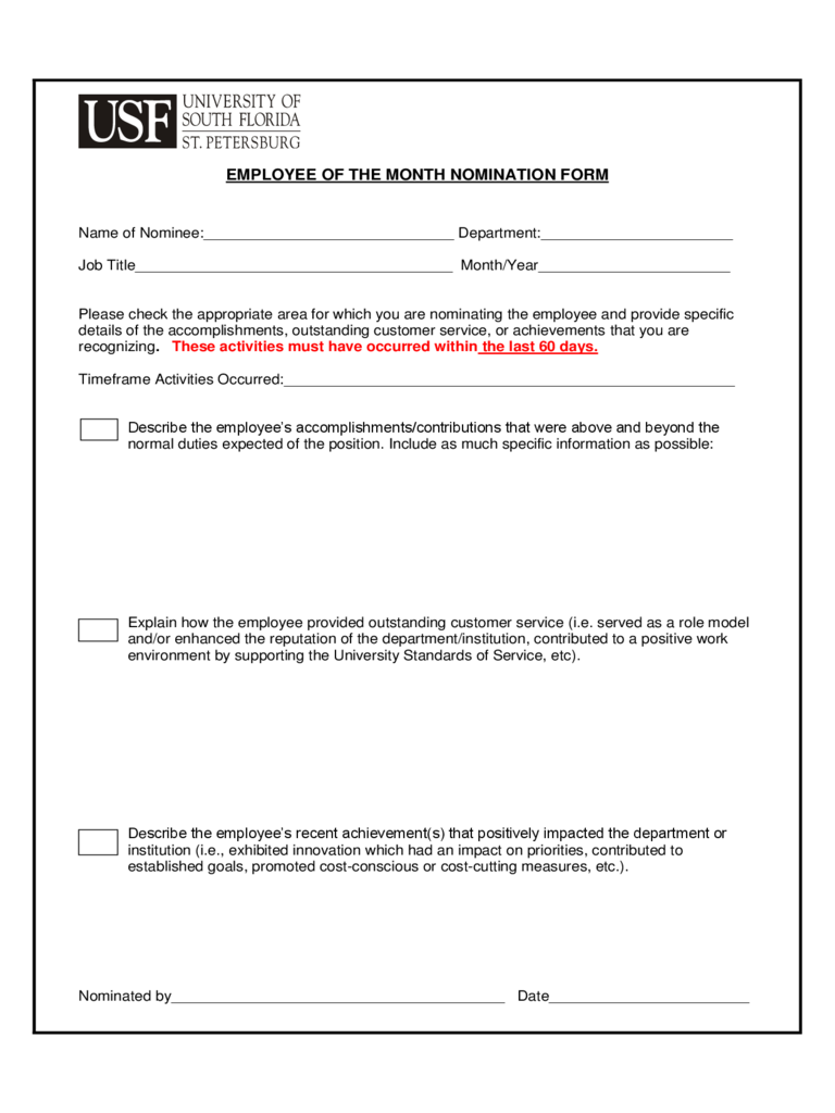 ... Month Nomination Form - 5 Free Templates in PDF, Word, Excel Download